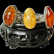 3 Vintage Amber Rings