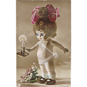 Vintage Postcard Doll with movable Eyes