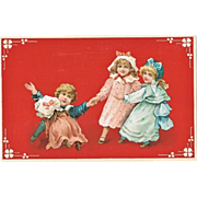 Art Nouveau Postcard with four Children, playing. Litho.