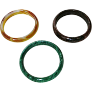 Three Bangles Jadeite Agate Hard-stone