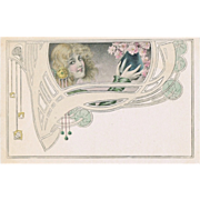 SOLD Art Nouveau Postcard with Lady and Flowers