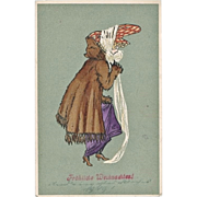 Art Nouveau Xmas Postcard with Lady in Fur