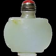 Chinese Snuff Bottle of Greenish Jade