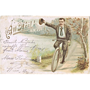 Bicycle Postcard from 1905. Lithographed.