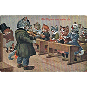 Funny Thiele vintage Postcard with Cats singing 1910