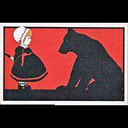 Art Deco Postcard Girl and Bear