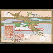 Decorative Japanese Postcard with Phoenix Silver Wedding