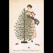 Xmas Postcard by Mela Koehler, decorative Art Nouveau