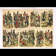 Uniforms: 2 decorative, antique Chromo Lithographs with Military Topics