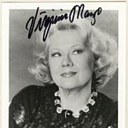 Virginia Mayo Autograph, hand signed Photo. CoA