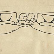 Authentic Art Nouveau Drawing by Austrian Artist. The Kiss.