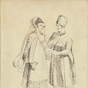 Polish Couple: Antique Etching from ca. 1830