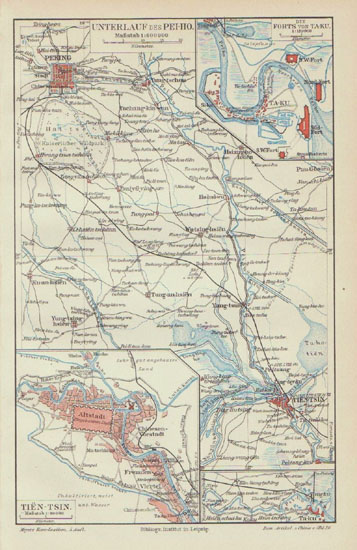 Old China Map from 1902: Pei-Ho and Ta-Ku