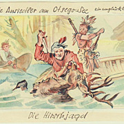 Authentic Water Color with Trapper and Indian, hunting. Deerslayer Illustration.