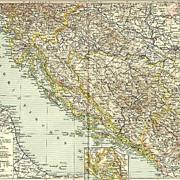 Antique Map. Bosnia, Dalmatians, Croatia….1898