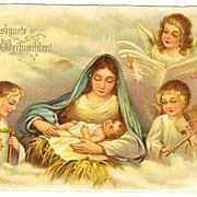 Merry Xmas: Chromo Litho Postcard. Angels.