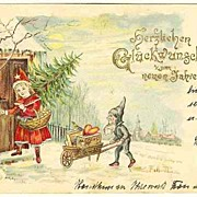 SOLD Happy New Year: Antique Postcard with Dwarf