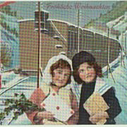 Xmas Postcard Girls and Train. 1911