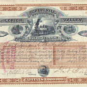 Schuylkill and Lehigh Valley Railroad Co. 1887 Stock Certificate