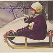 Lovely Xmas Postcard: Little Girl on Sledge