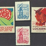 4 Vignettes related to Italy, 1930s. Politics and Festa Camelia