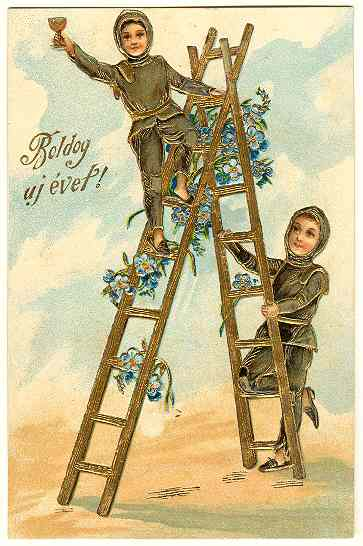 Happy New Year: Embossed Litho-Postcard from 1906