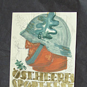 Water Color Draft with Soldier, by Suessenbeck 1940s