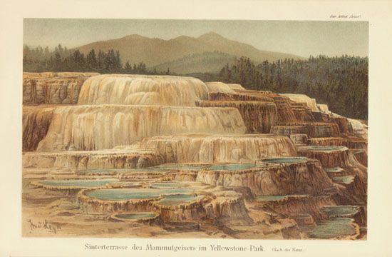 The Terraces at Yellowstone Park. Lithograph from 1900, Artist signed.