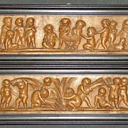 Fine Wooden Panel. Children Scenes. 18. – 19th Century.