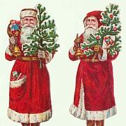 2 Santas. Embossed Die Cuts from ca. 1910