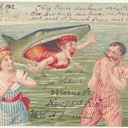 Shark eating Lady. Funny Postcard from 1902. Newport to Wien.