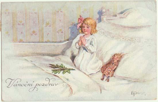 Xmas Postcard: Little Girl praying. Doll lying beside her. 1922