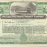 Philadelphia Rapid Transit Company. Old Stock Certificate with Tram.