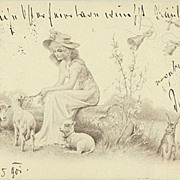 SOLD Happy Easter. Vintage Postcard Lady with Lambs and Bunnies. 1901