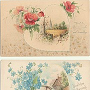 2 Art Nouveau Name Day Postcards. Embossed, unused