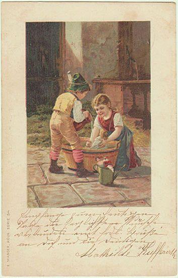1900: Vintage Postcard. Kids bathing their Dolls.