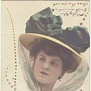 Art Nouveau Postcard: Lady with fancy Hat. Very decorative