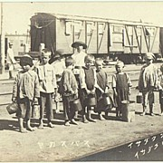 Russian Kids at Japanese Railway Station. Vintage Photo app. 1905