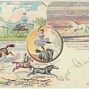 Barnum and Bailey Postcard with Horses from 1908. German Edition