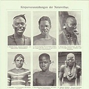 1905: German Print related to Primitive Ethnic Groups Body Decoration