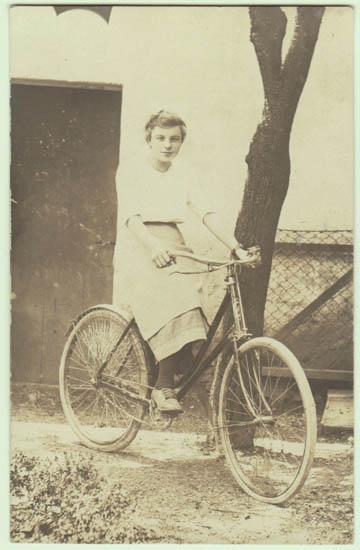 Lady in Bicycle: Vintage Photo