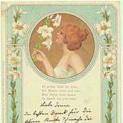 Art Nouveau Postcard: Lady with Lilies. 1900