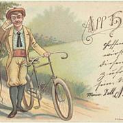 Antique Postcard with Biking Motif. Lithograph. 1899