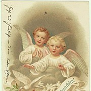 Xmas Postcards with 2 Angles. Litho 1900