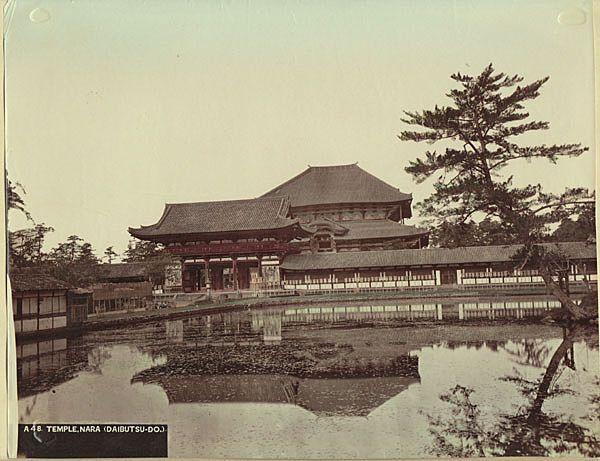 Old Japan, Temple Nara. Large Tinted Albumen Photo. Pre-1890