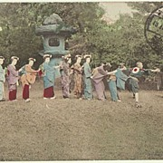 Japanese Girls playing. Tinted postcard sent China to Austria. 1916