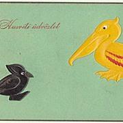 Art Deco: Unusual Easter Postcard with Pelican
