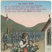 Children paying, soldiers marching: Vintage Postcard World War 1.