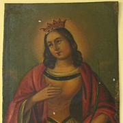 Old Painting on Metal Plate. Mother Mary