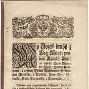 Antique Document. Edict by Emperor Joseph II from 1770